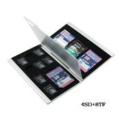 Aluminum memory card case card holders for SD MicroSD Card 4SD+8TF