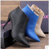 Free Shipping 2014 New Big Size 37-42 Women's Boots Single Shoes Thin Heels 10cm High Heels Fashion 3color Wedding Shoes Pumps