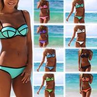 Sexy Neoprene Bikinis Sexy Womens Strappy Push Up Swimsuit Waterproof Swimwear Bathingsuit Beachwear SML New Hot Selling T169