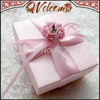 20PCS Light Pink Flower With Ribbon Wedding box Candy Box  Wedding Favors Wedding decoration Wedding Party Gift box 8.5*7*4cm