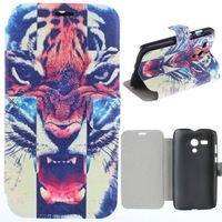 Cool Fashion Tiger Cartoon Skull PU Leather Flip Stand Case Hard Back Cover Phone Case For Motorola Moto G DVX XT1032