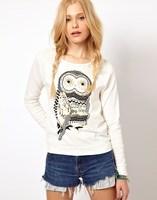 Autumn hoodies women cute animal owl print sweatshirt female pullvers casual diamond hoodie sweatshirts drop shipping Nora05509