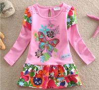 Wholesale children's clothing Spring 2014 new European style girls long-sleeved dress cakeF686