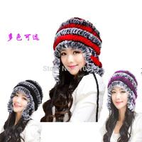 Women plus size winter fur hat ear protector cap rex rabbit hair hat female skullies beanies Rabbit fur hats R96