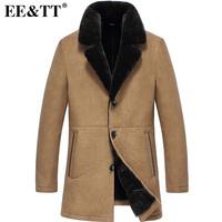Eett fur one piece male 2014 male sheepskin genuine leather clothing slim long design fur coat male