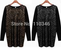 New Autumn Winter Women Brand Long Sleeve Dress Mesh Patchwork Lace O-Neck Vintage Dresses Big Yards Slim Mini Render Dress