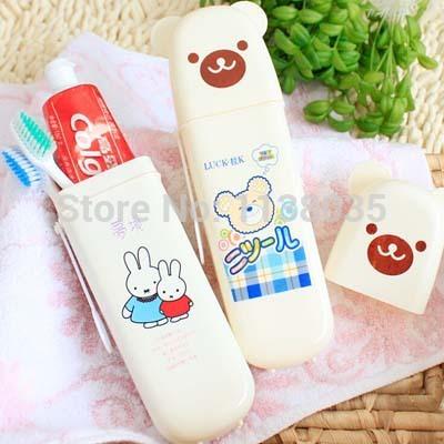 Teddy Bear travel toothpaste toothbrush box travel style teeth with portable dental equipment plastic storage box(China (Mainland))