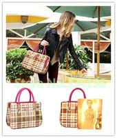 best sale candy color Women Handbag Leather bags Plaid stripes pink and yellow color women messenger bag Shoulder fringe handbag