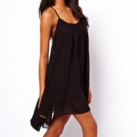 New 2014 summer fashion women's chiffon cloth big splicing beach Tape chiffon dress#25005 Free shipping
