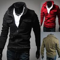 2014 New Winter Men's solid color multi-pocket Long-sleeved jacket men's coats casual fit fashion jacket 3 colors