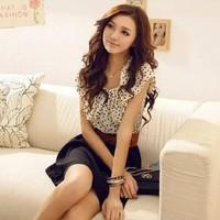 Hot Sale New 2014 summer fashion women's chiffon cloth Korean Style Ruffles Short Sleeve Chiffon Dots Dress#HCX015 Free shipping