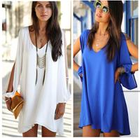 Women Summer Dress 2014 New Sexy Women Loose Chiffon V Neck Strapless A-line Casual Mini Shirt Dress Plus size White Beach dress