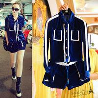 Free shipping 2014 autumn new women clothing set,women fashion blue velour sports sweater and shorts
