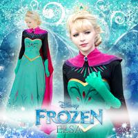 Queen aisha elsa adult formal dress cosplay women's set frozen free shipping