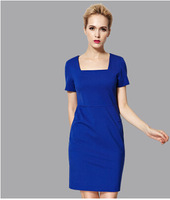 free shipping  new arrival 2014 quality square collar brief fashion ol slim solid color women's handbag one-piece dress