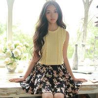 Spring Autumn New Women's Skirt Fashion New Women Ladies Retro High Waist Pleated Floral Elastic Short Mini Skirt Y42013