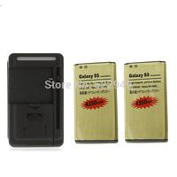 Dock Wall Charger +2x High Capacity 4350mAh Gold Li-ion Golden Battery For Samsung Galaxy S5 SV 5 V i9600 +Free/Drop Shipping