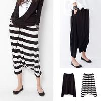 2014 women's loose Fashion Womens Casual Loose Crotch Pants Striped Hip Hop Dance Baggy Trousers