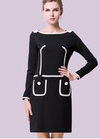 Women's plus size autumn fashion 2014 long-sleeve dress female pocket black and white color block