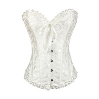 Plus Size Women Sexy Embroidered Corset Overbust Corsets Lace up back Tops Bustiers & Thong