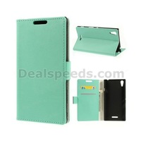 5PCS/LOT-Lychee Grain Flip Leather Wallet Cover for Sony Xperia T3 D5102 D5103 D5106  w/ Card Slots with 5 Colors