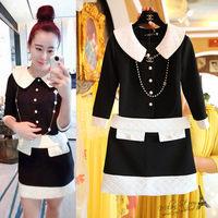 Free shipping 2014 autumn new women clothing set,women elegant work style peter-pan collar coat and skirt,black