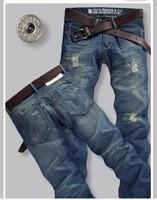 Male male jeans slim straight hole whisker men's clothing beggar pants