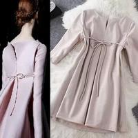fashion 2014 winter Hitz European leg linen cotton lace back split A small V -shaped doll models coat clothing dress