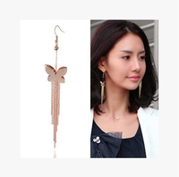 Smooth the butterfly long tassel earrings The actress with accessories  Free Shipping