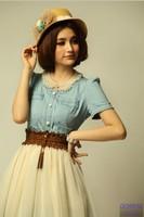 Summer women's short-sleeve anti-wrinkle basic denim dress elegant slim one-piece dress female