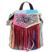 2014 New Tassel Backpack genuine leather punk skull backpack school girl fashion backpack free shipping