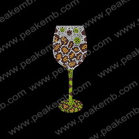 Wholesale 50Pcs/Lot Free Shipping Colorful Wine Cup Custom Rhinestone Crystal Transfer Iron On Strass