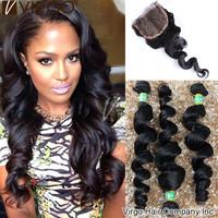 Brazilian Virgin Hair Loose Wave 1pc Lace Closure With 3Bundles 4pcs Lot Natural Black Hair Ms Lula Hair Brazilian Loose Wave