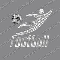 Free Dhl Shipping 50Pcs/Lot Wholesale Play Football Hotfix Rhinestone Transfer Heat Press For Ts Dressing