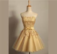 Golden Color Lace Bow Waist Strapless Short Party Dress Plus size Women Bridesmaid Dress