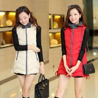2014 autumn winter korea style fashion casual vest coat hood patchwork outwear vest for women warm coat drop shipping Y101312