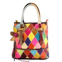 2014 women bag fashion women follower tassel handbag color patchwork bag shoulder bag genuine leather of sheepskin free shipping
