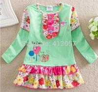 Wholesale children's clothing Spring 2014 new European style girls long-sleeved dress cakeF589