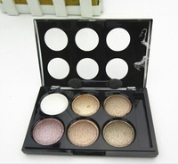 2pcs/lot Fashion charm makeup 2014 new 6 colors eyeshadow Palette with Brush Senior luxurious
