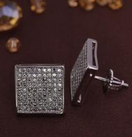 LSE857 square zircon men earrings screw back New jewelry earring brass, free shipping