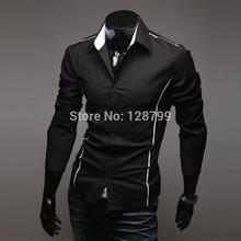 comercio exterior 2014 al por mayor camisas de los hombres camisa delgada coreano hombre moda largo casual- camisa de manga nztb01 hombres camisa(China (Mainland))