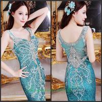 Evening dress 2014 new crystal wedding toast the bride dress vestido de noite free shipping z001