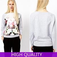 Autumn Winter 2015 New Full Sleeve O Neck Suit Flowers Printed Sweatshirt Casual Sweatshirts Sport Suit Women Tracksuit Pullover