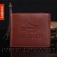 Promotion 2014 Male Leather Casual Short Design menWallet Card holder Zipper pocket Fashion Purse Genuine Leather cowhide purse