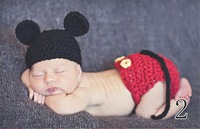 Free shipping 2014 new fashion Mickey design soft and comfortable Baby knitwear photography props Baby clothes romper suit
