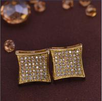 LSE855 Brass men stud earrings with screw back square jewelry earrings, free shipping