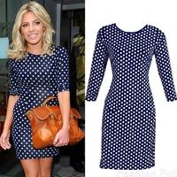 New 2014 Ladies Cheap Clothes Women Fashion Half Sleeve Round Collar Polka Dot Print Casual Dress Female Vestidos Free Shipping