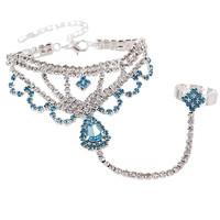 2014 New Elegant Bohemia Women Unique Rhinestone 4 colors Flower Chain Women Bracelets Bangles,Wedding Jewelry Free shipping