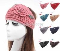 2014 New Winter Crochet Headbands For Women Branch Pearl Rhinestone Warm Women Flower Headband Knitted Headwrap 10 pieces / lot