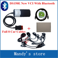 Quality A+++ 2014.2 Keygen new vci ds150e with bluetooth SCANNER TCS cdp pro plus with LED 3 IN1 CDP DS150+ Full 8 Car Cable
